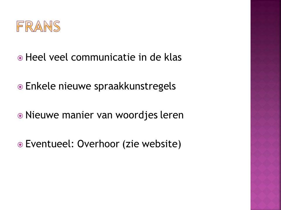  Heel veel communicatie in de klas  Enkele nieuwe spraakkunstregels  Nieuwe manier van woordjes leren  Eventueel: Overhoor (zie website)
