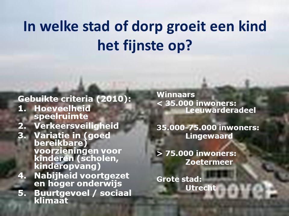 In welke stad of dorp groeit een kind het fijnste op? Gebuikte criteria (2010): 1.Hoeveelheid speelruimte 2.Verkeersveiligheid 3.Variatie in (goed ber