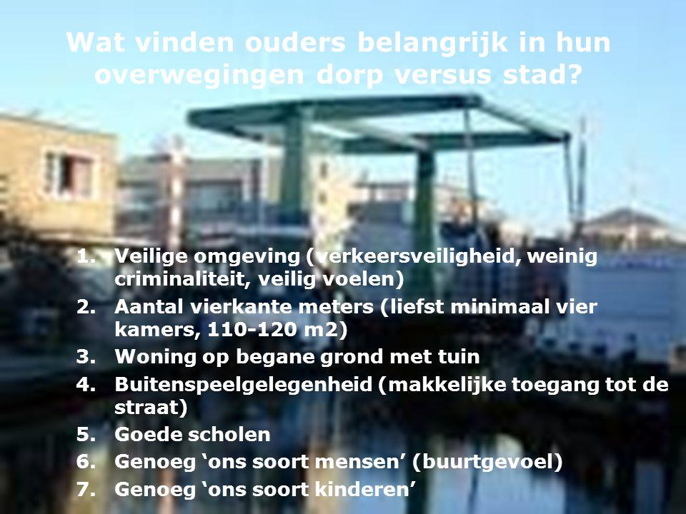 Wat vinden ouders belangrijk in hun overwegingen dorp versus stad? 1.Veilige omgeving (verkeersveiligheid, weinig criminaliteit, veilig voelen) 2.Aant
