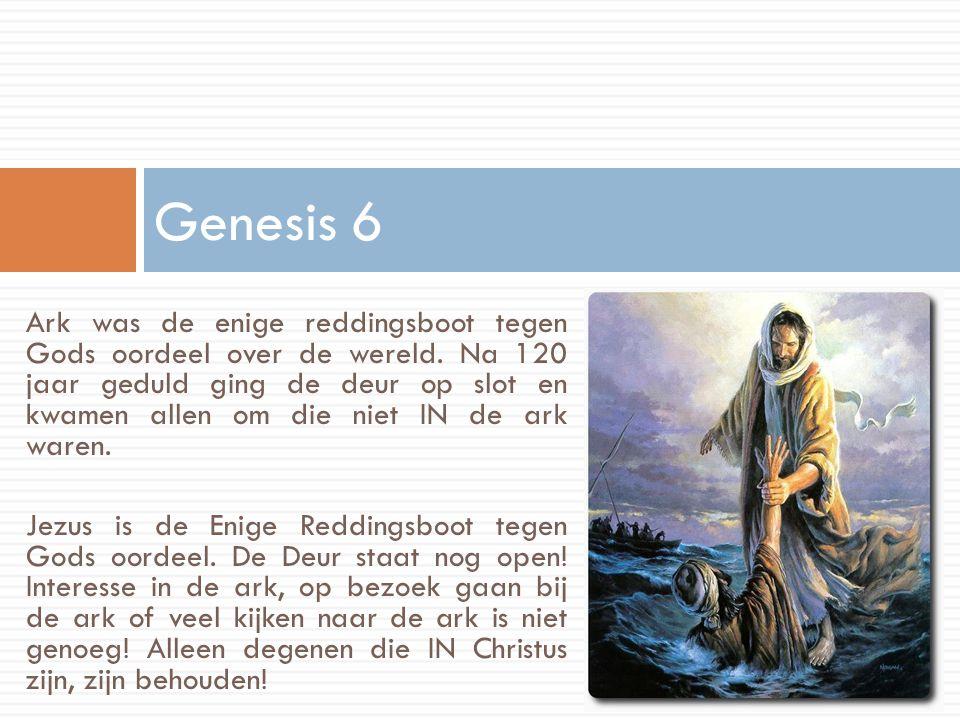 Ark was de enige reddingsboot tegen Gods oordeel over de wereld. Na 120 jaar geduld ging de deur op slot en kwamen allen om die niet IN de ark waren.