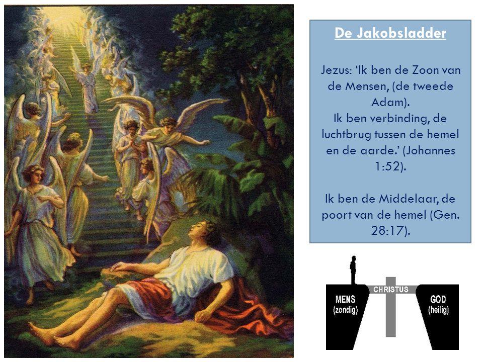 De Jakobsladder Jezus: 'Ik ben de Zoon van de Mensen, (de tweede Adam). Ik ben verbinding, de luchtbrug tussen de hemel en de aarde.' (Johannes 1:52).