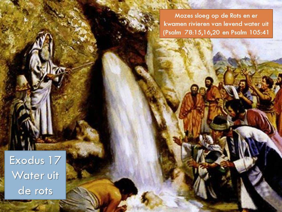 Mozes sloeg op de Rots en er kwamen rivieren van levend water uit (Psalm 78:15,16,20 en Psalm 105:41 Exodus 17 Water uit de rots