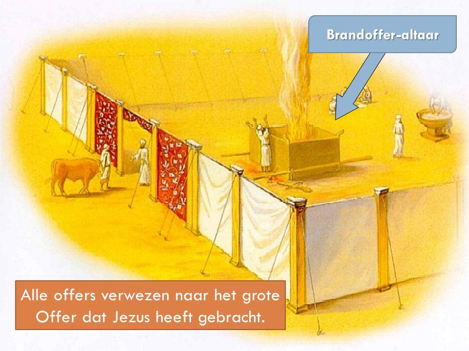 Alle offers verwezen naar het grote Offer dat Jezus heeft gebracht. Brandoffer-altaar