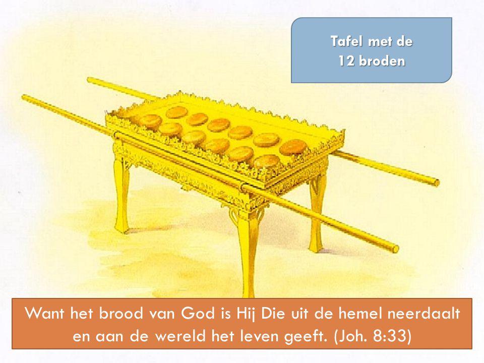 Tafel met de 12 broden Want het brood van God is Hij Die uit de hemel neerdaalt en aan de wereld het leven geeft. (Joh. 8:33)
