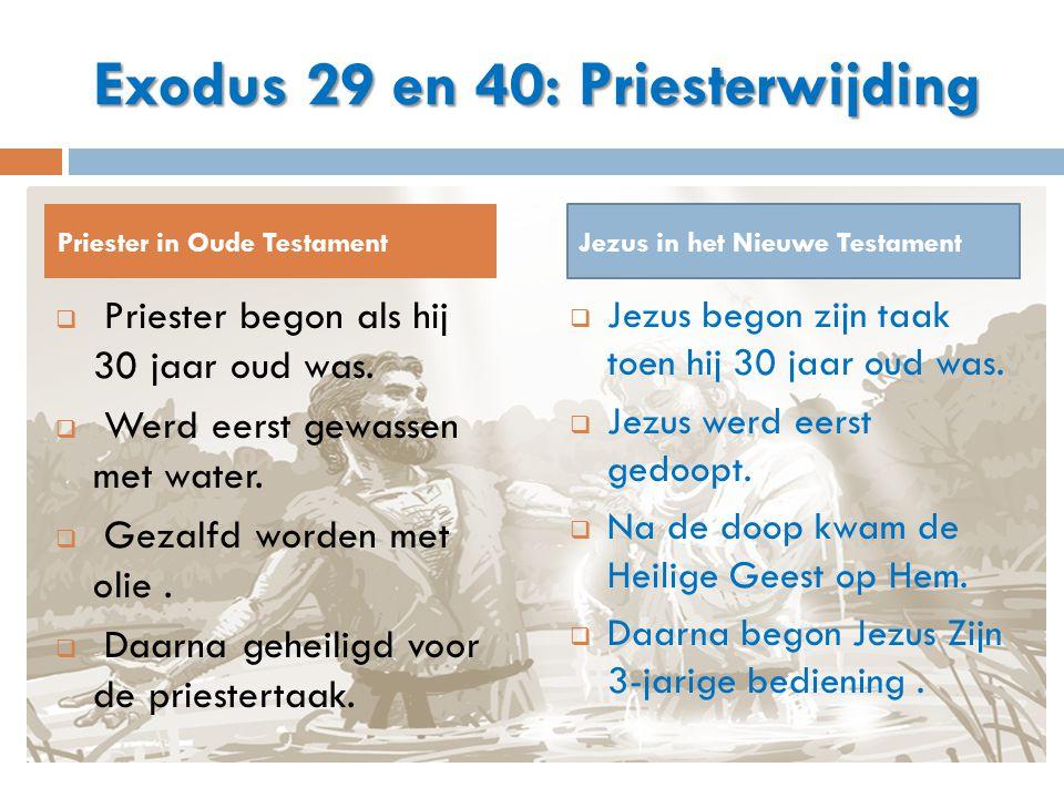  Priester begon als hij 30 jaar oud was.  Werd eerst gewassen met water.  Gezalfd worden met olie.  Daarna geheiligd voor de priestertaak.  Jezus
