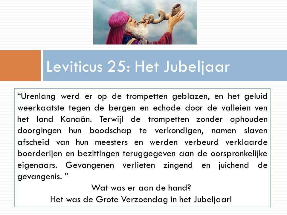 """Leviticus 25: Het Jubeljaar """"Urenlang werd er op de trompetten geblazen, en het geluid weerkaatste tegen de bergen en echode door de valleien ven het"""