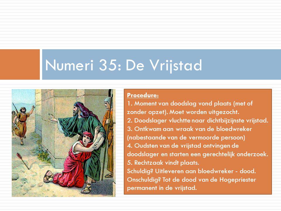 Numeri 35: De Vrijstad Procedure: 1. Moment van doodslag vond plaats (met of zonder opzet). Moet worden uitgezocht. 2. Doodslager vluchtte naar dichtb