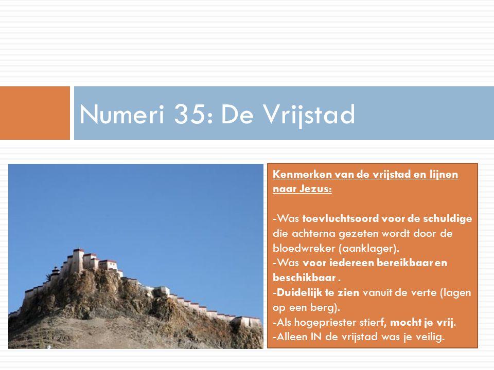 Numeri 35: De Vrijstad Kenmerken van de vrijstad en lijnen naar Jezus: -Was toevluchtsoord voor de schuldige die achterna gezeten wordt door de bloedw