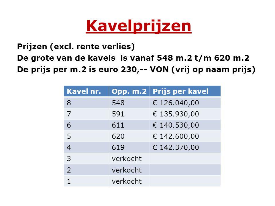Kavelprijzen Prijzen (excl. rente verlies) De grote van de kavels is vanaf 548 m.2 t/m 620 m.2 De prijs per m.2 is euro 230,-- VON (vrij op naam prijs