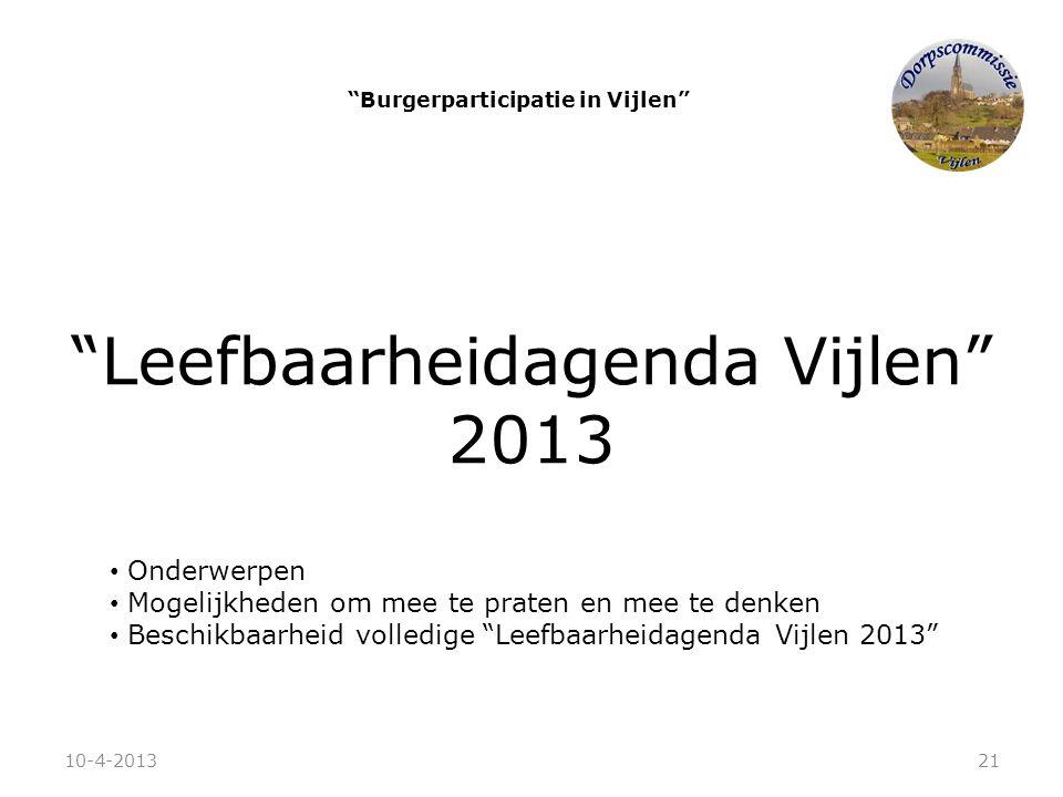 """""""Leefbaarheidagenda Vijlen"""" 2013 • Onderwerpen • Mogelijkheden om mee te praten en mee te denken • Beschikbaarheid volledige """"Leefbaarheidagenda Vijle"""