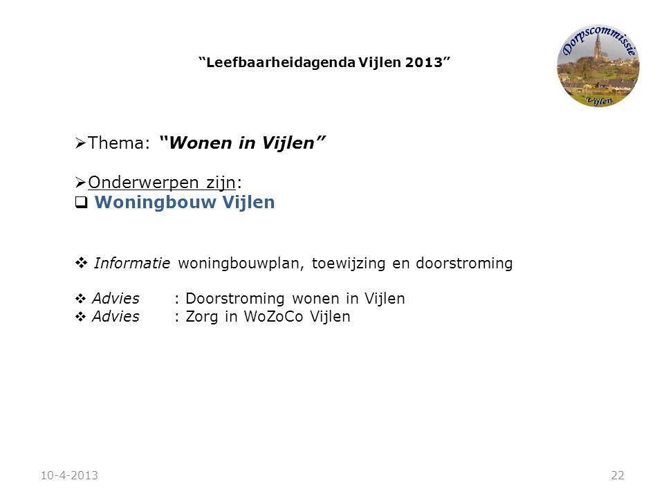 """ Thema: """"Wonen in Vijlen""""  Onderwerpen zijn:  Woningbouw Vijlen  Informatie woningbouwplan, toewijzing en doorstroming  Advies: Doorstroming wone"""