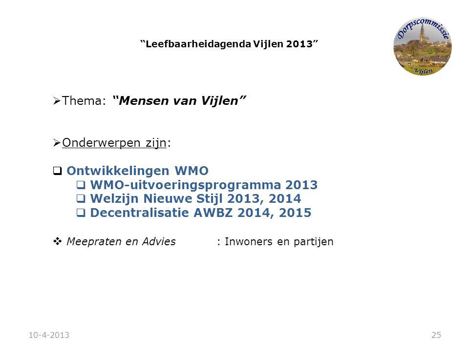 """ Thema: """"Mensen van Vijlen""""  Onderwerpen zijn:  Ontwikkelingen WMO  WMO-uitvoeringsprogramma 2013  Welzijn Nieuwe Stijl 2013, 2014  Decentralisa"""