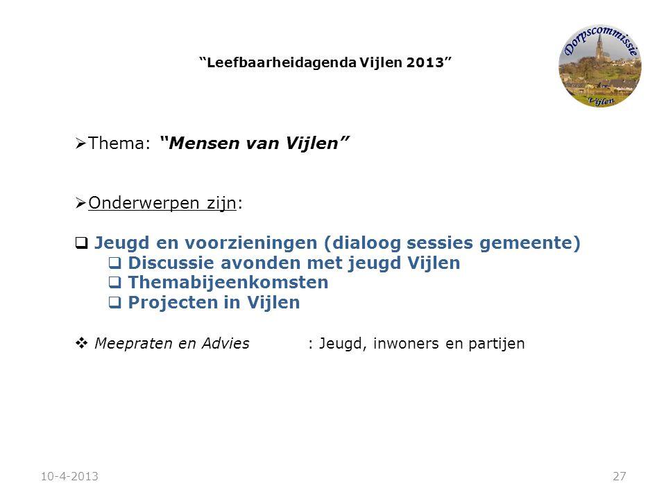 """ Thema: """"Mensen van Vijlen""""  Onderwerpen zijn:  Jeugd en voorzieningen (dialoog sessies gemeente)  Discussie avonden met jeugd Vijlen  Themabijee"""