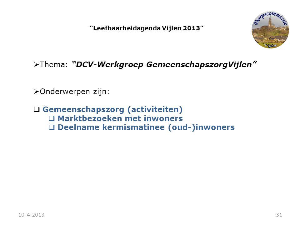""" Thema: """"DCV-Werkgroep GemeenschapszorgVijlen""""  Onderwerpen zijn:  Gemeenschapszorg (activiteiten)  Marktbezoeken met inwoners  Deelname kermisma"""