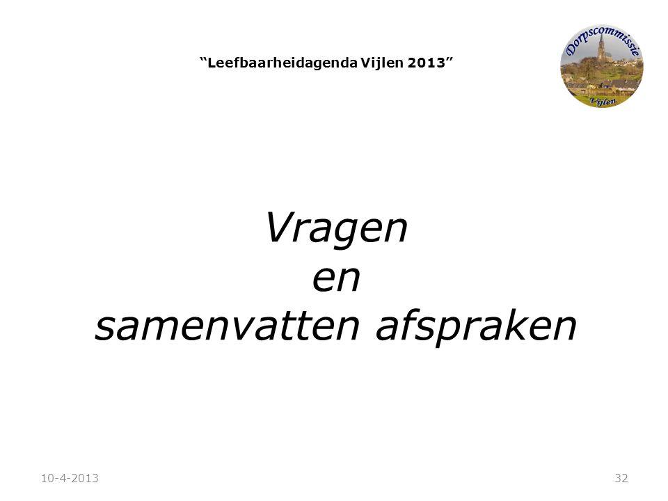 """""""Leefbaarheidagenda Vijlen 2013"""" Vragen en samenvatten afspraken 10-4-201332"""
