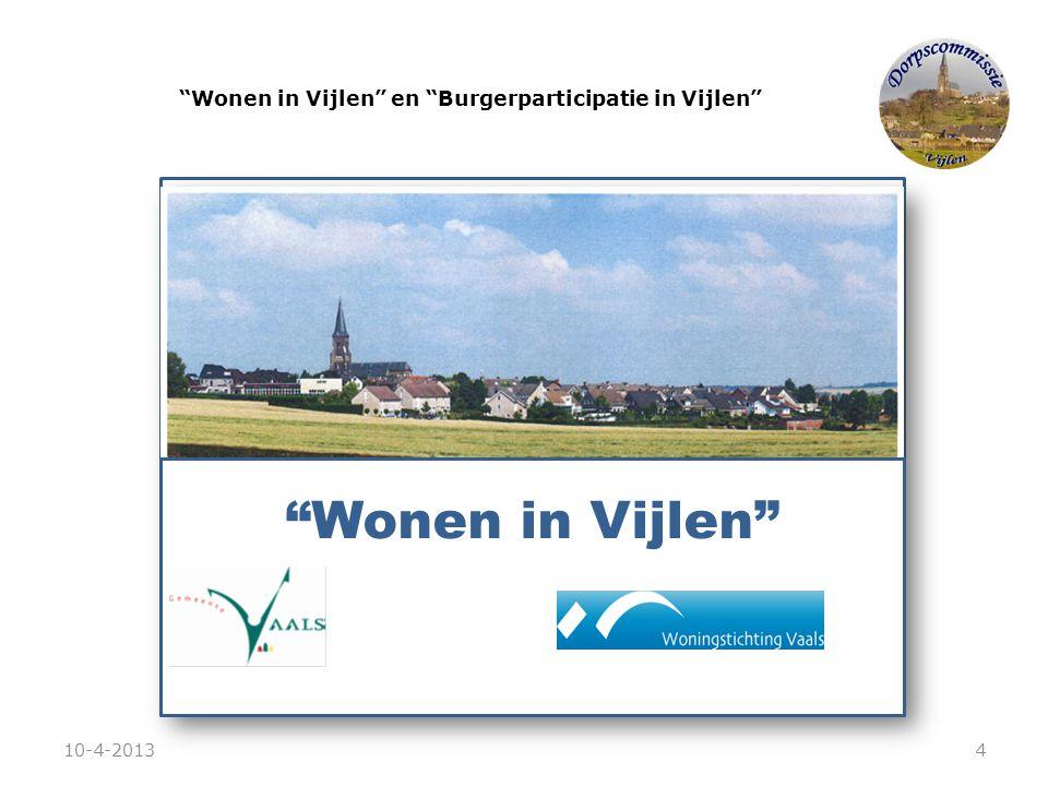 """""""Wonen in Vijlen"""" en """"Burgerparticipatie in Vijlen"""" """"Wonen in Vijlen"""" 10-4-20134"""