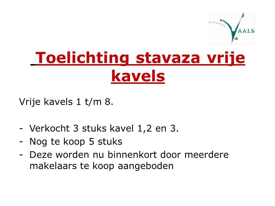 Toelichting stavaza vrije kavels Vrije kavels 1 t/m 8. -Verkocht 3 stuks kavel 1,2 en 3. -Nog te koop 5 stuks -Deze worden nu binnenkort door meerdere
