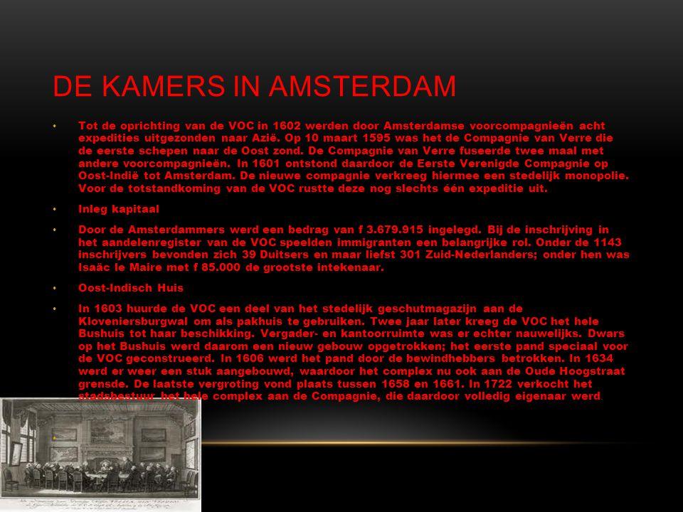 DE KAMERS IN AMSTERDAM • Tot de oprichting van de VOC in 1602 werden door Amsterdamse voorcompagnieën acht expedities uitgezonden naar Azië.