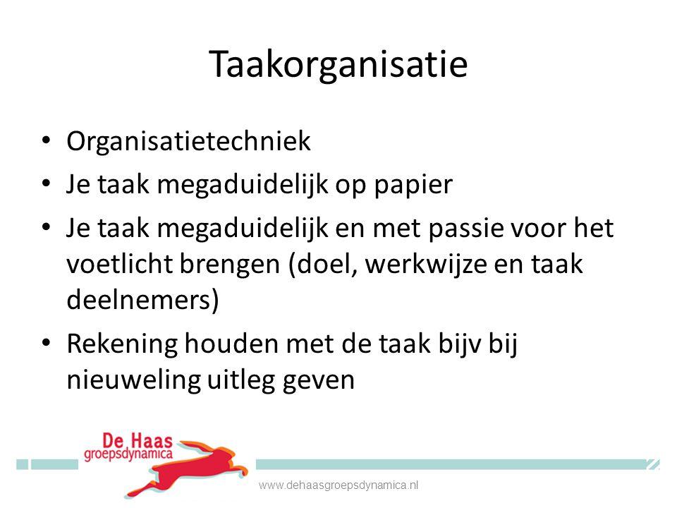 Taakorganisatie • Organisatietechniek • Je taak megaduidelijk op papier • Je taak megaduidelijk en met passie voor het voetlicht brengen (doel, werkwi