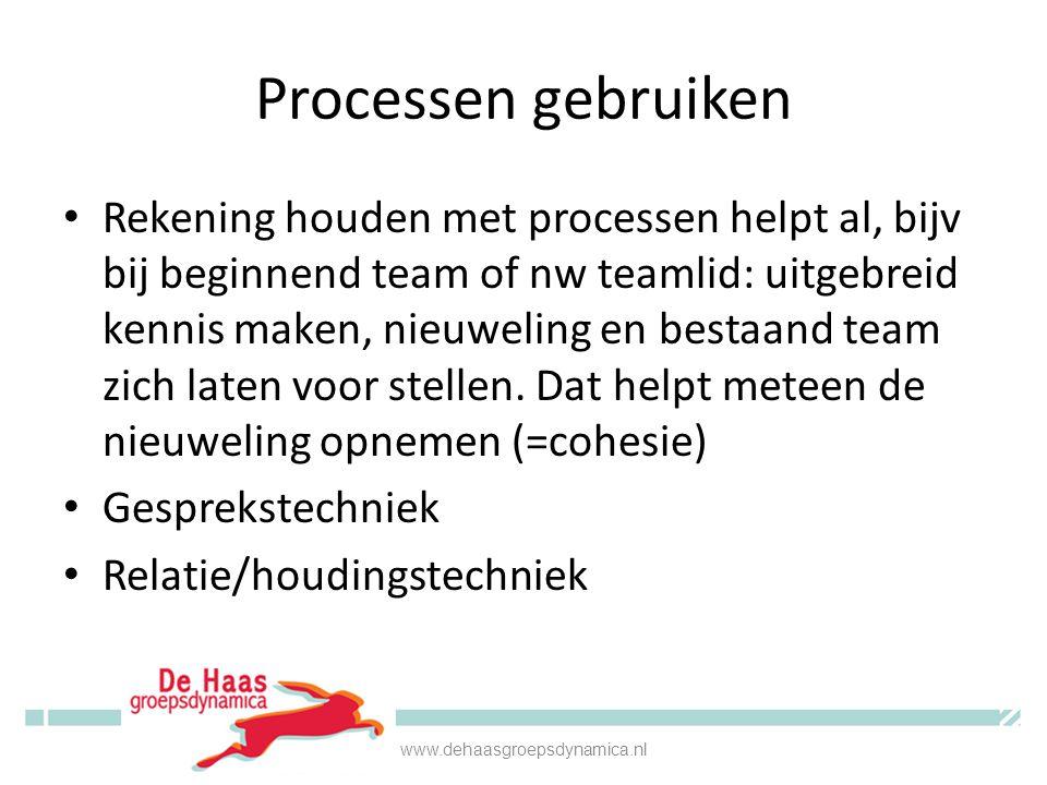 Cohesie • Groeit vanzelf (of niet) • Voorwaarde voor teamfunctioneren • Bevorder je met gesprekstechniek door elk individueel teamlid vragend te spiegelen met een lichte 'onder'-houding www.dehaasgroepsdynamica.nl