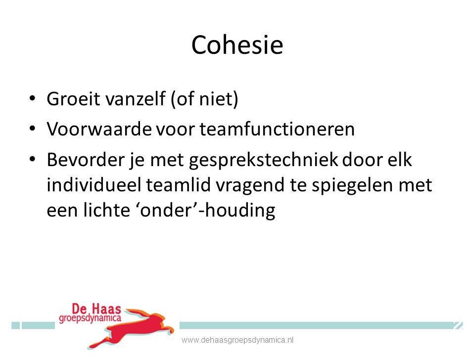 Cohesie • Groeit vanzelf (of niet) • Voorwaarde voor teamfunctioneren • Bevorder je met gesprekstechniek door elk individueel teamlid vragend te spieg