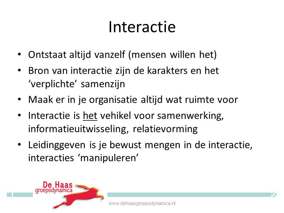 Interactie • Ontstaat altijd vanzelf (mensen willen het) • Bron van interactie zijn de karakters en het 'verplichte' samenzijn • Maak er in je organis