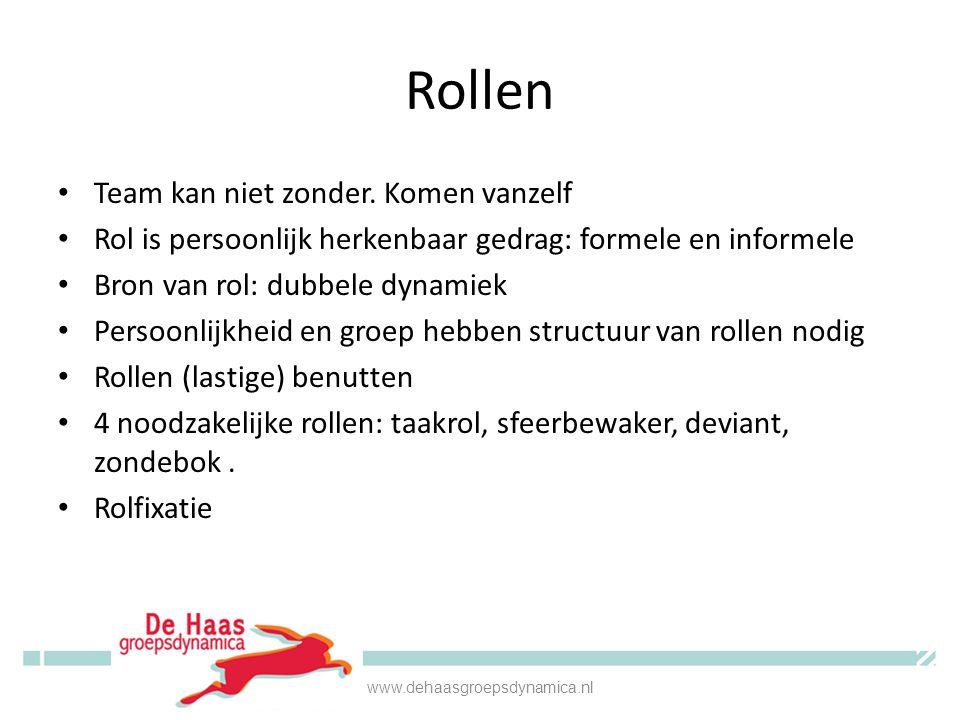 Rol teamleider • Leidersrol als vehikel voor beinvloeding • Leidersrol: bevoegdheid (gegeven door de organisatie) en mandaat (gekregen van je teamleden) • Leidersrol is rol op metaniveau • Neem die rol www.dehaasgroepsdynamica.nl