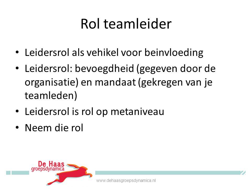 Rol teamleider • Leidersrol als vehikel voor beinvloeding • Leidersrol: bevoegdheid (gegeven door de organisatie) en mandaat (gekregen van je teamlede