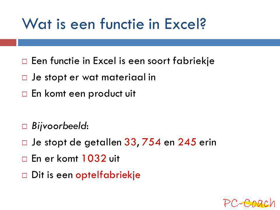 Wat is een functie in Excel.