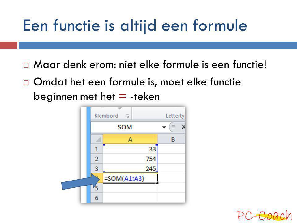 Elke functie heeft een naam  We kennen de functie SOM()  Hier zijn er meer:  Er zijn zo'n 400 functies in Excel  Meestal schrijf je de naam in hoofdletters