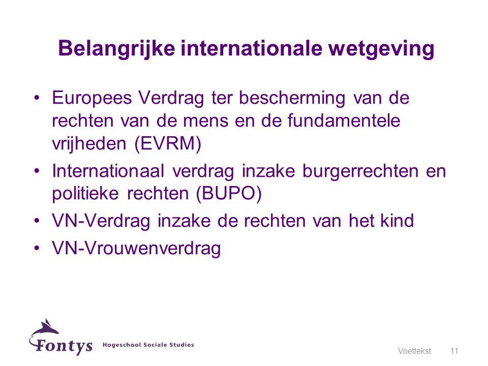 •Europees Verdrag ter bescherming van de rechten van de mens en de fundamentele vrijheden (EVRM) •Internationaal verdrag inzake burgerrechten en polit
