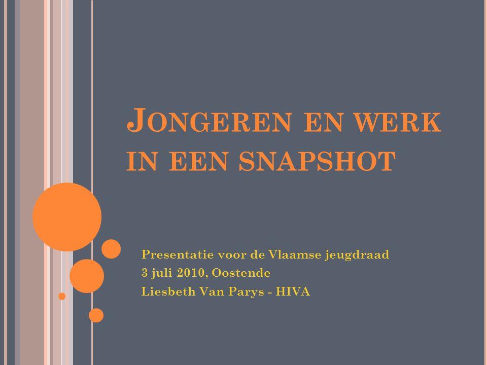 J ONGEREN EN WERK IN EEN SNAPSHOT Presentatie voor de Vlaamse jeugdraad 3 juli 2010, Oostende Liesbeth Van Parys - HIVA