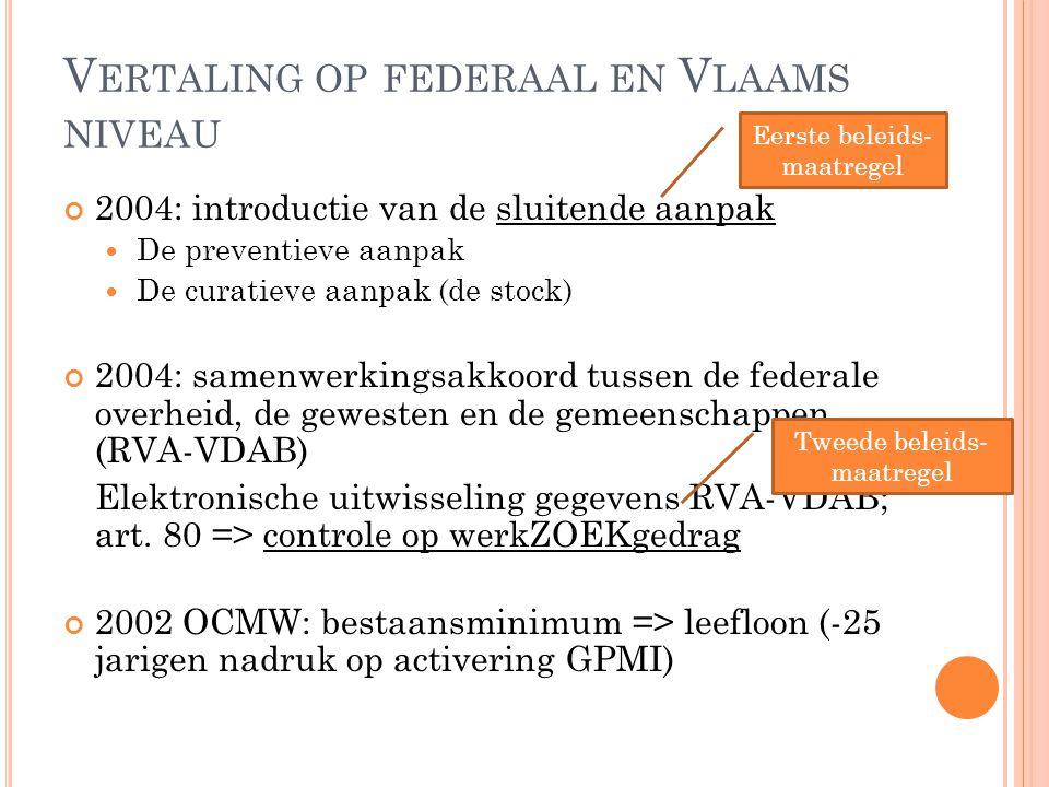 V ERTALING OP FEDERAAL EN V LAAMS NIVEAU 2004: introductie van de sluitende aanpak  De preventieve aanpak  De curatieve aanpak (de stock) 2004: same