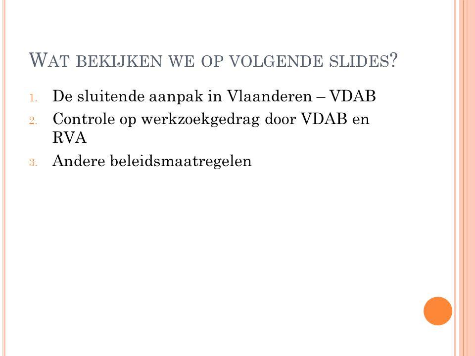 W AT BEKIJKEN WE OP VOLGENDE SLIDES ? 1. De sluitende aanpak in Vlaanderen – VDAB 2. Controle op werkzoekgedrag door VDAB en RVA 3. Andere beleidsmaat