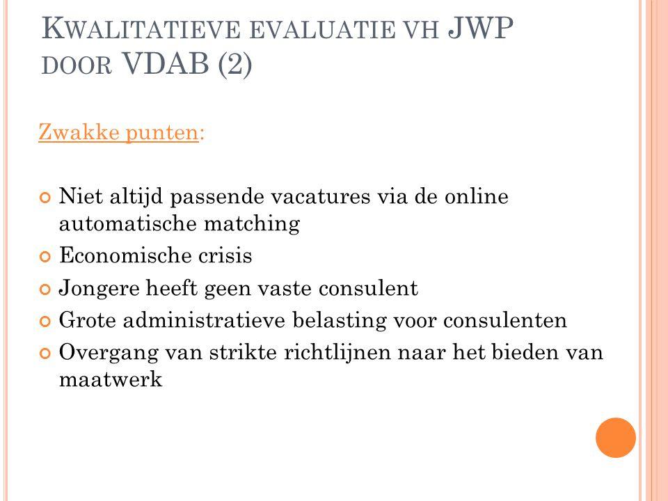 K WALITATIEVE EVALUATIE VH JWP DOOR VDAB (2) Zwakke punten: Niet altijd passende vacatures via de online automatische matching Economische crisis Jong