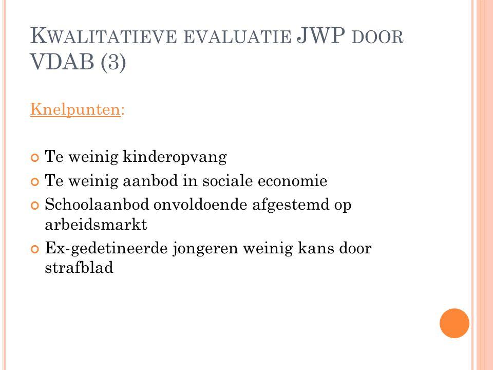 K WALITATIEVE EVALUATIE JWP DOOR VDAB (3) Knelpunten: Te weinig kinderopvang Te weinig aanbod in sociale economie Schoolaanbod onvoldoende afgestemd o