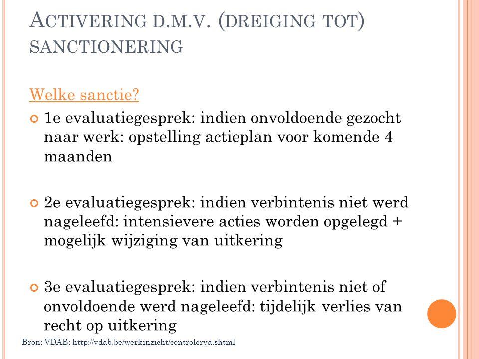 A CTIVERING D. M. V. ( DREIGING TOT ) SANCTIONERING Welke sanctie? 1e evaluatiegesprek: indien onvoldoende gezocht naar werk: opstelling actieplan voo
