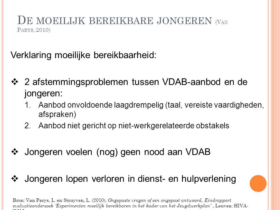 D E MOEILIJK BEREIKBARE JONGEREN (V AN P ARYS, 2010) Verklaring moeilijke bereikbaarheid:  2 afstemmingsproblemen tussen VDAB-aanbod en de jongeren: