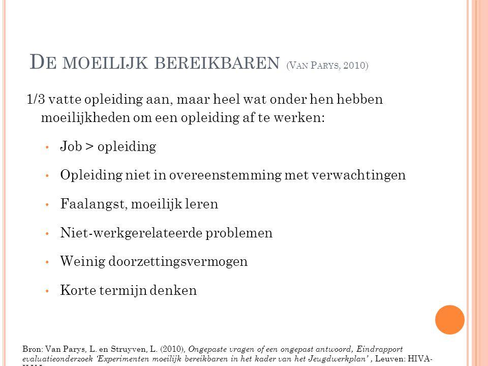 D E MOEILIJK BEREIKBAREN (V AN P ARYS, 2010) 1/3 vatte opleiding aan, maar heel wat onder hen hebben moeilijkheden om een opleiding af te werken: • Jo