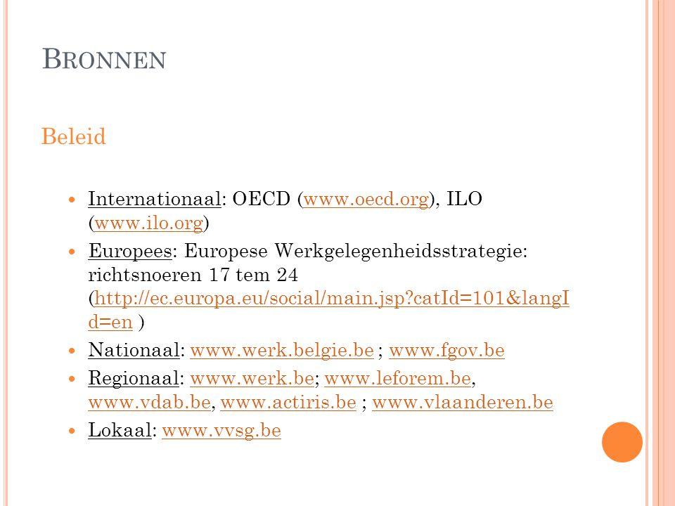 B RONNEN Beleid  Internationaal: OECD (www.oecd.org), ILO (www.ilo.org)www.oecd.orgwww.ilo.org  Europees: Europese Werkgelegenheidsstrategie: richts