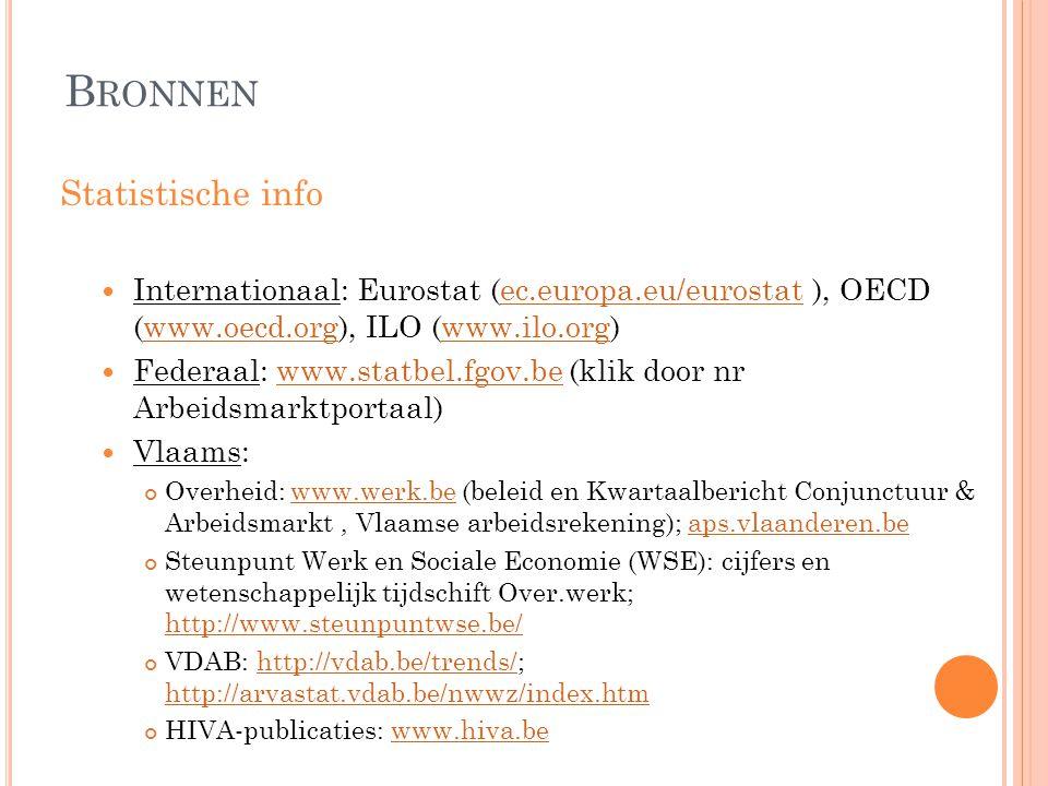 B RONNEN Statistische info  Internationaal: Eurostat (ec.europa.eu/eurostat ), OECD (www.oecd.org), ILO (www.ilo.org)ec.europa.eu/eurostatwww.oecd.or