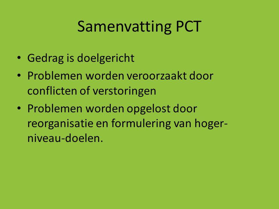 Samenvatting PCT • Gedrag is doelgericht • Problemen worden veroorzaakt door conflicten of verstoringen • Problemen worden opgelost door reorganisatie
