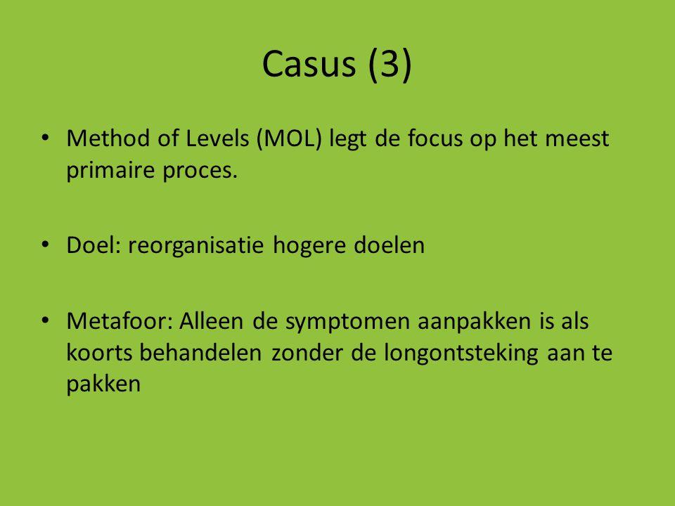 Casus (3) • Method of Levels (MOL) legt de focus op het meest primaire proces. • Doel: reorganisatie hogere doelen • Metafoor: Alleen de symptomen aan
