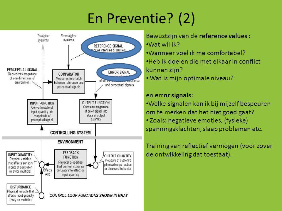 En Preventie? (2) Bewustzijn van de reference values : • Wat wil ik? • Wanneer voel ik me comfortabel? • Heb ik doelen die met elkaar in conflict kunn