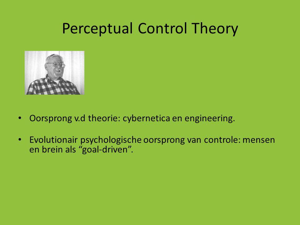 Perceptual Control Theory • Oorsprong v.d theorie: cybernetica en engineering. • Evolutionair psychologische oorsprong van controle: mensen en brein a