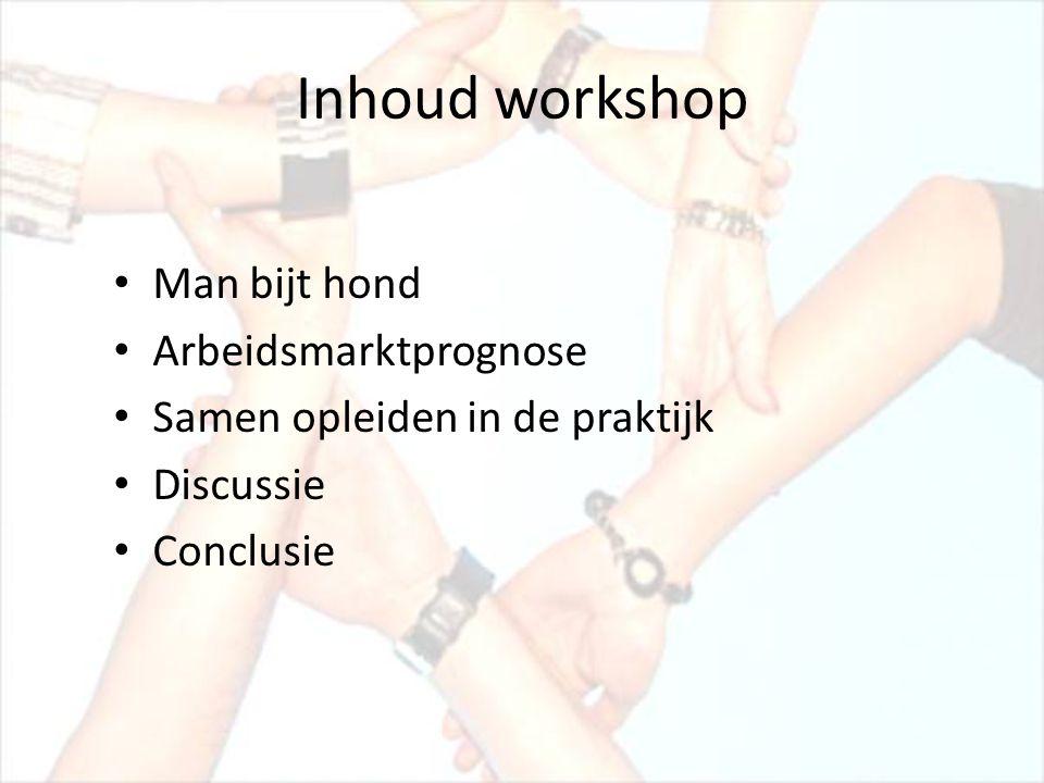 Inhoud workshop • Man bijt hond • Arbeidsmarktprognose • Samen opleiden in de praktijk • Discussie • Conclusie