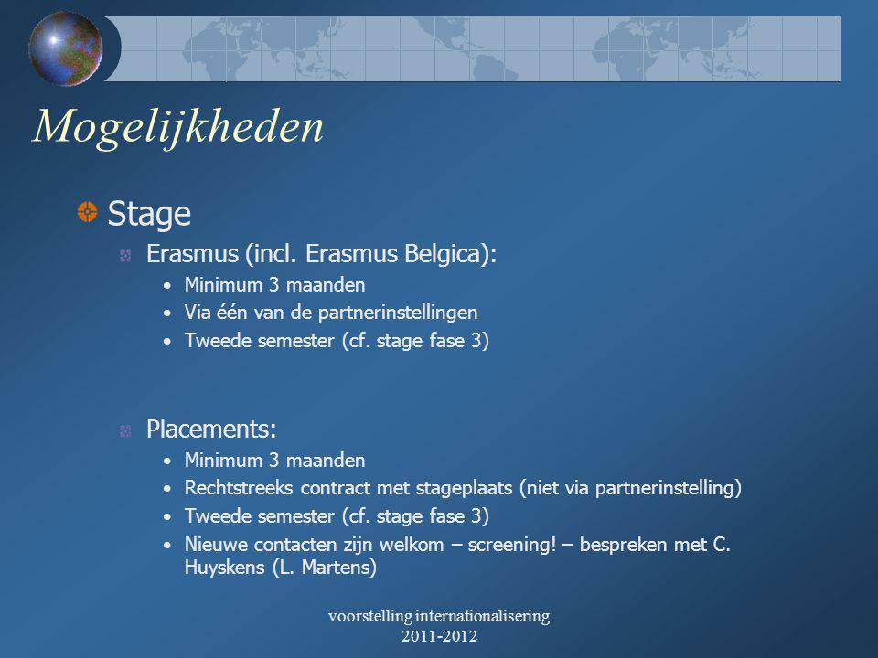 voorstelling internationalisering 2011-2012 Mogelijkheden Stage Erasmus (incl.