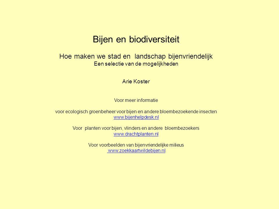 Bijen en biodiversiteit Hoe maken we stad en landschap bijenvriendelijk Een selectie van de mogelijkheden Arie Koster Voor meer informatie voor ecologisch groenbeheer voor bijen en andere bloembezoekende insecten www.bijenhelpdesk.nl Voor planten voor bijen, vlinders en andere bloembezoekers www.drachtplanten.nl Voor voorbeelden van bijenvriendelijke milieus www.zoekkaartwildebijen.nl www.bijenhelpdesk.nl www.drachtplanten.nl www.zoekkaartwildebijen.nl