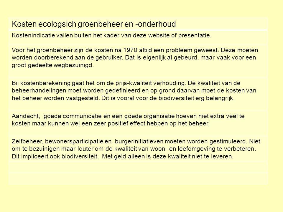 Kosten ecologsich groenbeheer en -onderhoud Kostenindicatie vallen buiten het kader van deze website of presentatie. Voor het groenbeheer zijn de kost