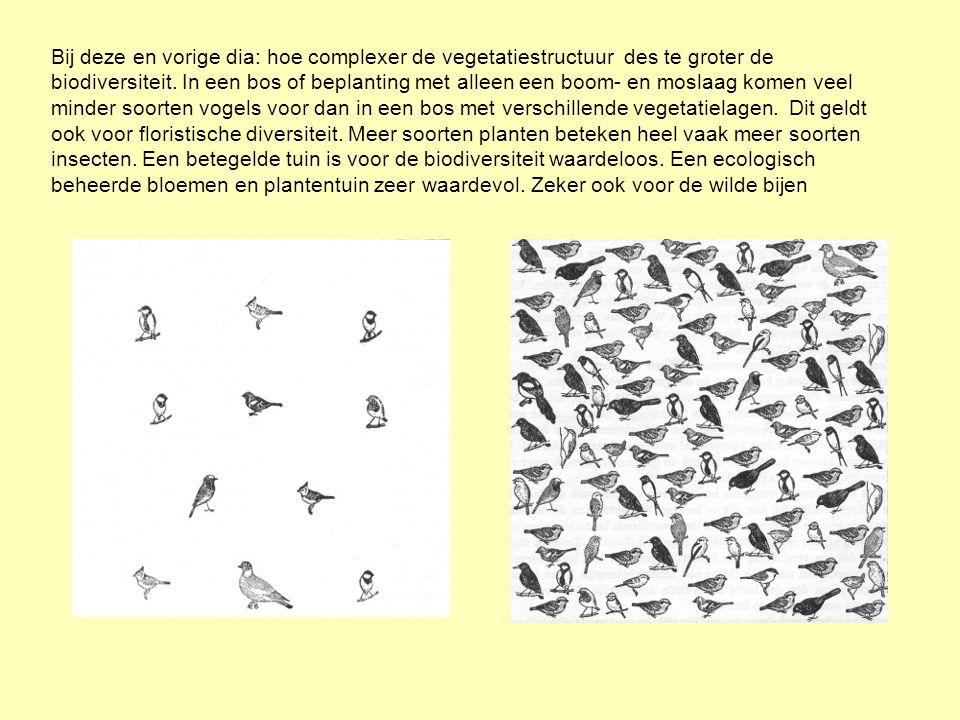. Bij deze en vorige dia: hoe complexer de vegetatiestructuur des te groter de biodiversiteit. In een bos of beplanting met alleen een boom- en moslaa